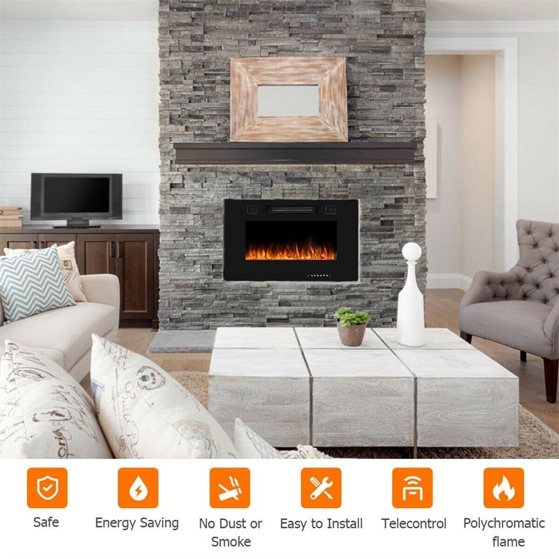 """30"""" Recessed Electric Fireplace Ultra Thin Wall Mounted Heater with Touch Screen"""