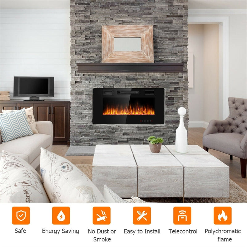 """36"""" Recessed Electric Fireplace Ultra Thin Wall Mounted Heater with Touch Screen"""