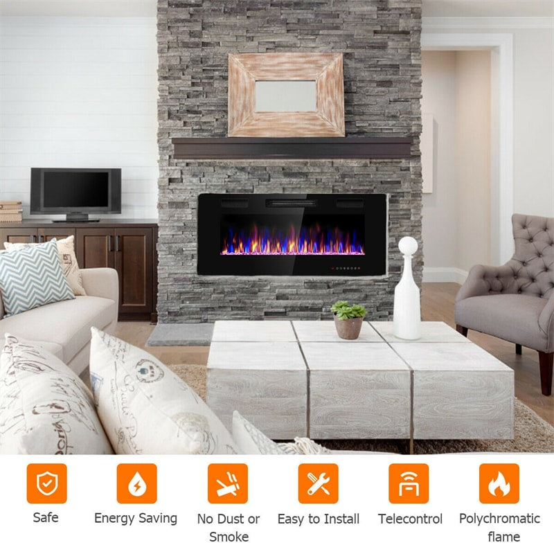 """42"""" Recessed Electric Fireplace Ultra Thin Wall Mounted Heater with Touch Screen"""