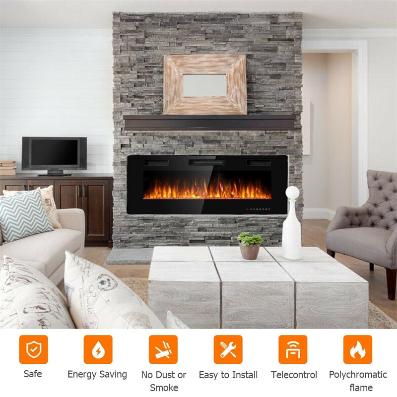 50 Inch Recessed Electric Fireplace Ultra Thin Wall Mounted Heater with Touch Screen