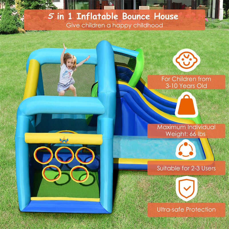 5 In 1 Inflatable Bouncy Castle With Slide Jumping Area Climbing Wall