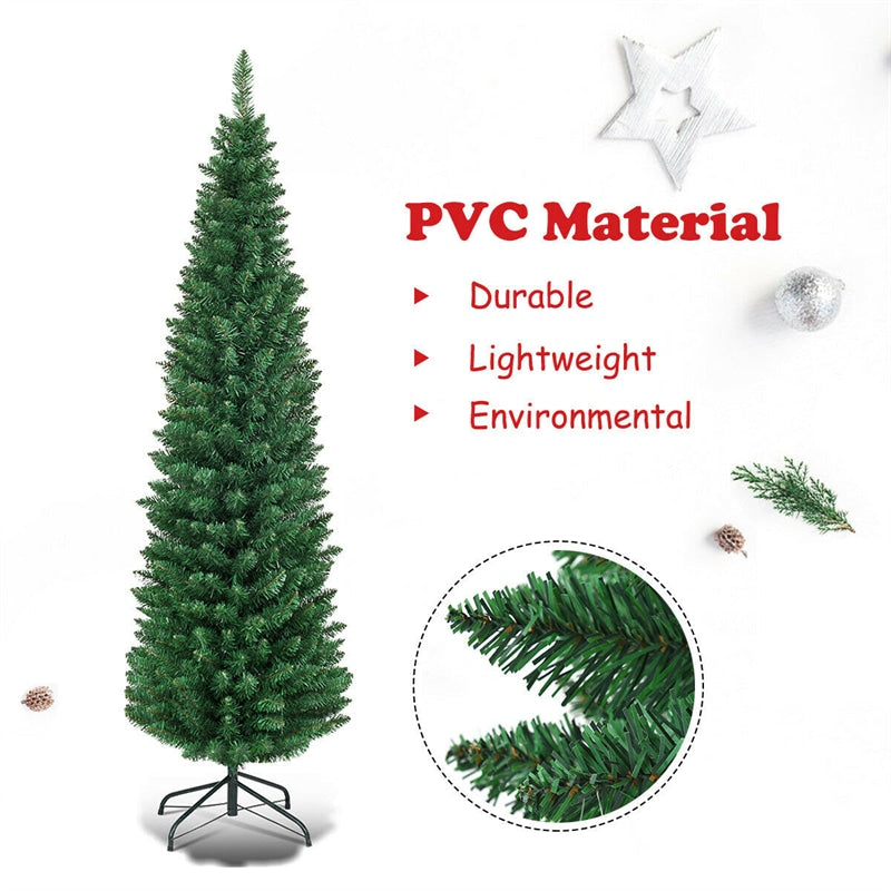 9ft PVC Artificial Slim Pencil Christmas Tree with Metal Stand