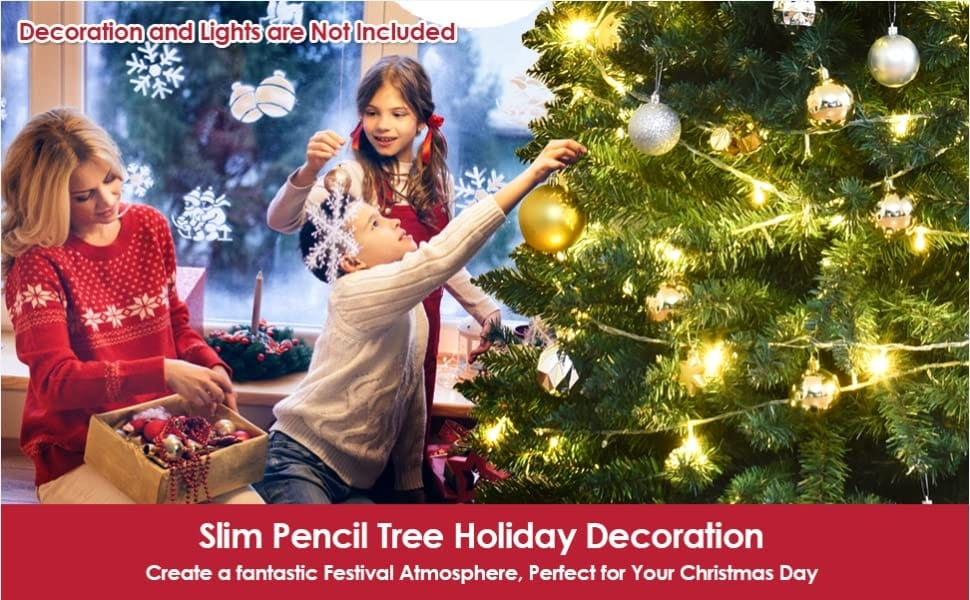 5ft PVC Artificial Slim Pencil Christmas Tree with Metal Stand