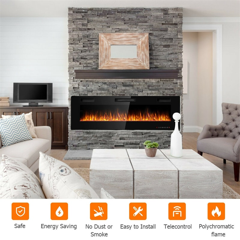 """60"""" Recessed Electric Fireplace Ultra Thin Wall Mounted Heater with Touch Screen"""