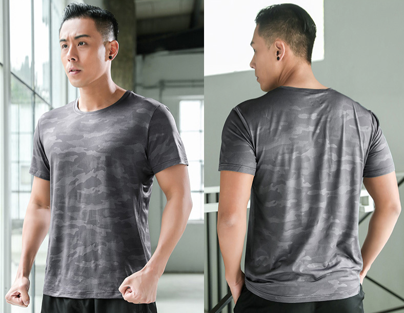 Summer Men's Polyester Breathable Gym T-shirts