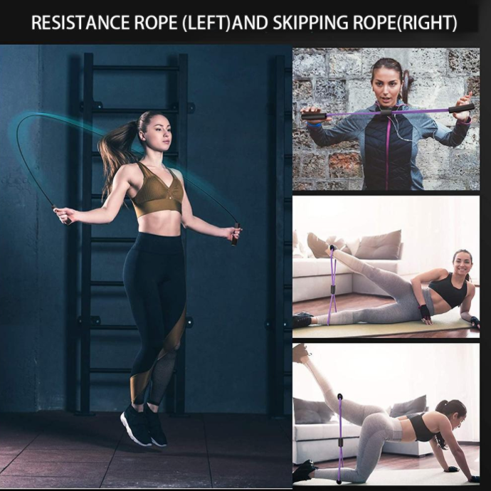 5 in 1 Fitness Equipment Kit with Abdominal Wheel Resistance Bands Jump Rope Pump Grips Knee Mat