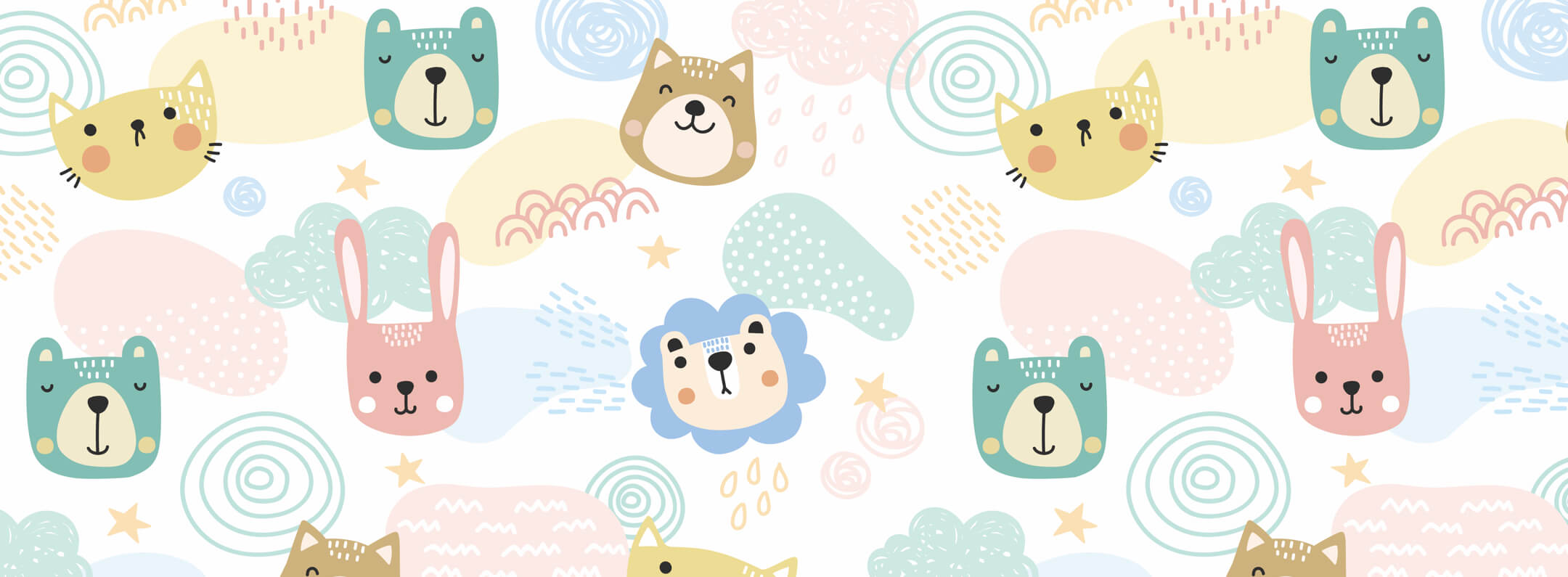 Cute Cat & Dog Animal Face Collection wallpaper