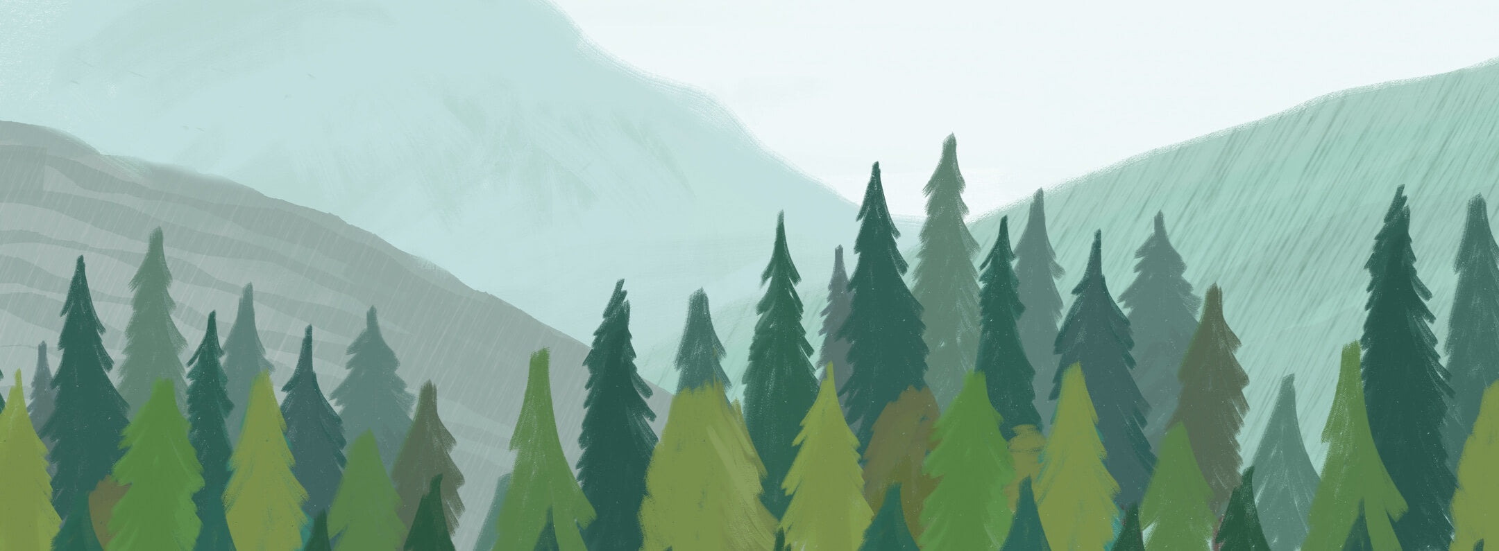 green-watercolor-forest-tree-silhouette-wallpaper