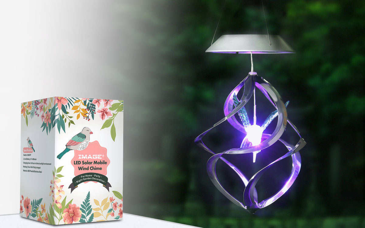 Color Changing Solar Hanging Lights, Hummingbird Wind Chime