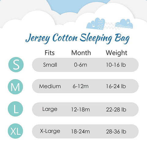 2-Pack Cotton Baby Wearable Blanket TOG 0.5 - Blue Clouds