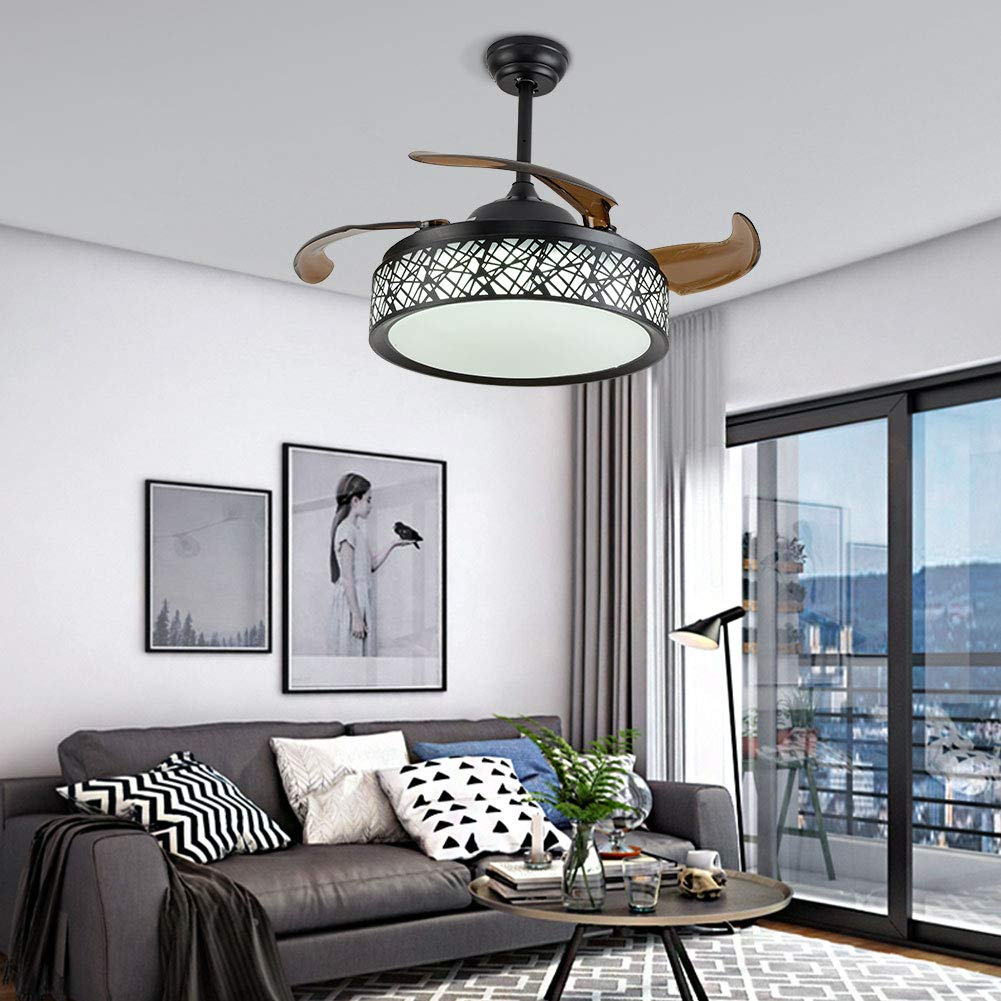 42 inch Black Fan Chandelier - Three Color Dimming with Remote Control
