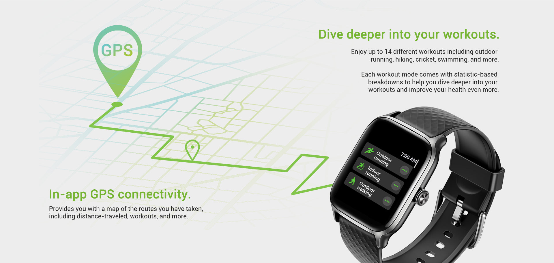In-app GPS connectivity. Provides you with a map of the routes you have taken, including distance-traveled, workouts, and more.