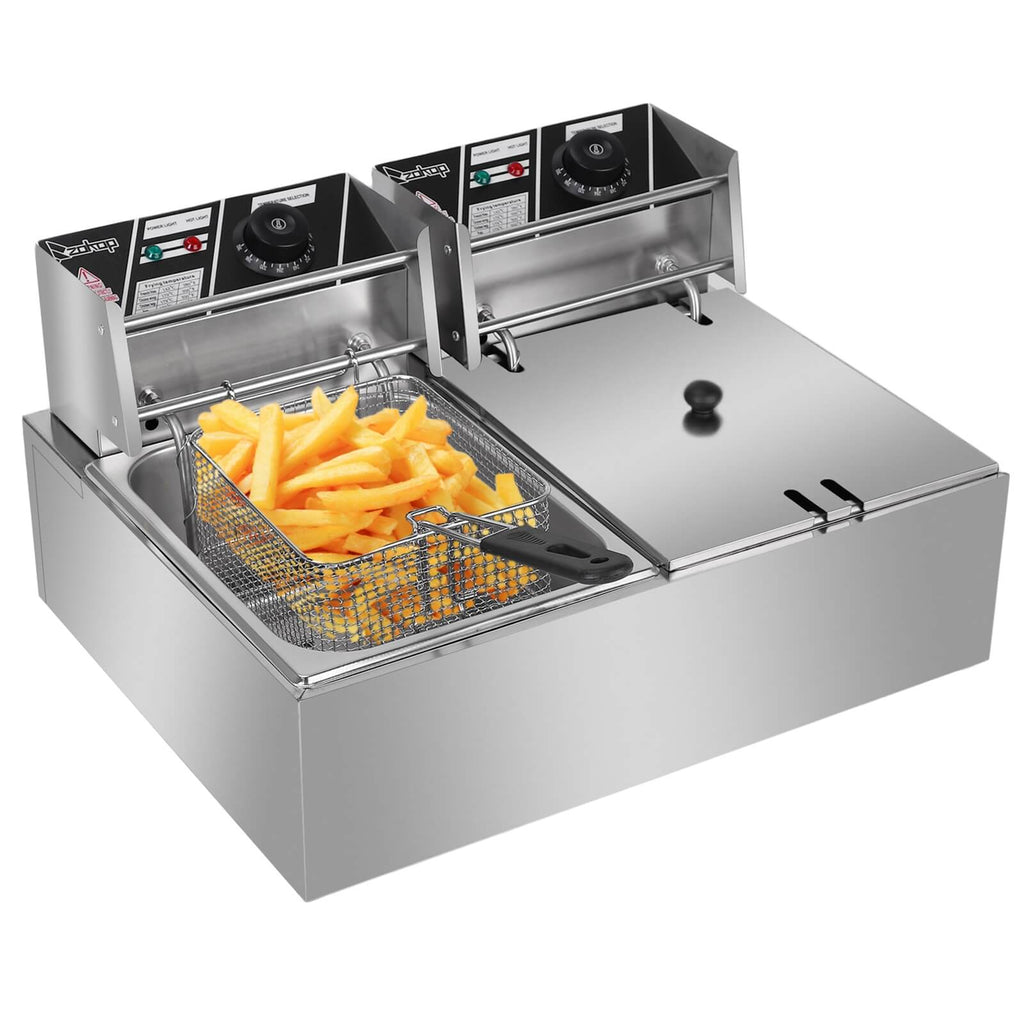 Stainless Steel Double Cylinder Electric Fryer 6