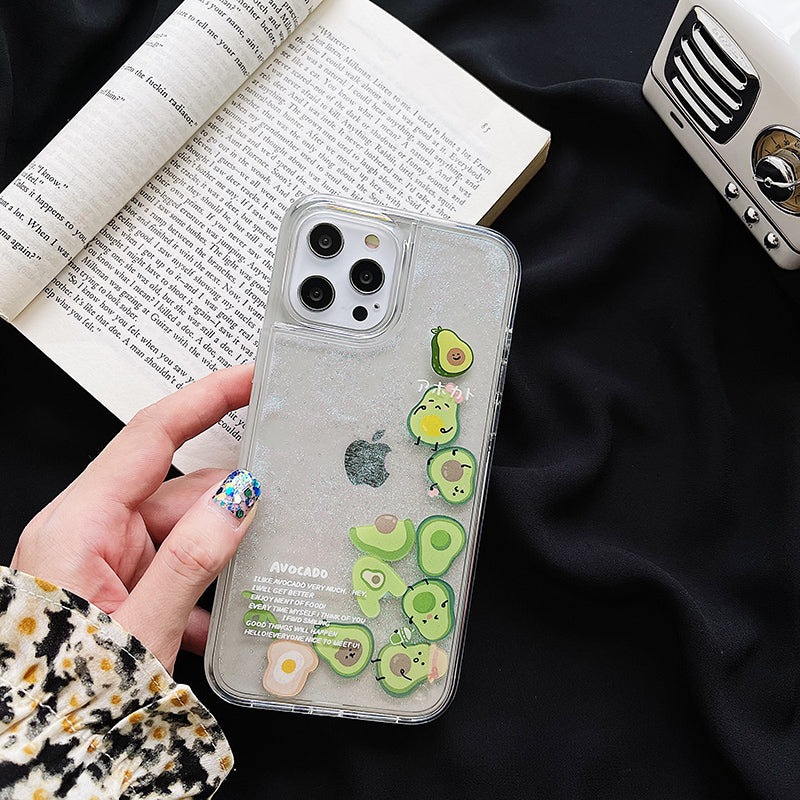 Casetic Green Avocado Quicksand Case for iPhone