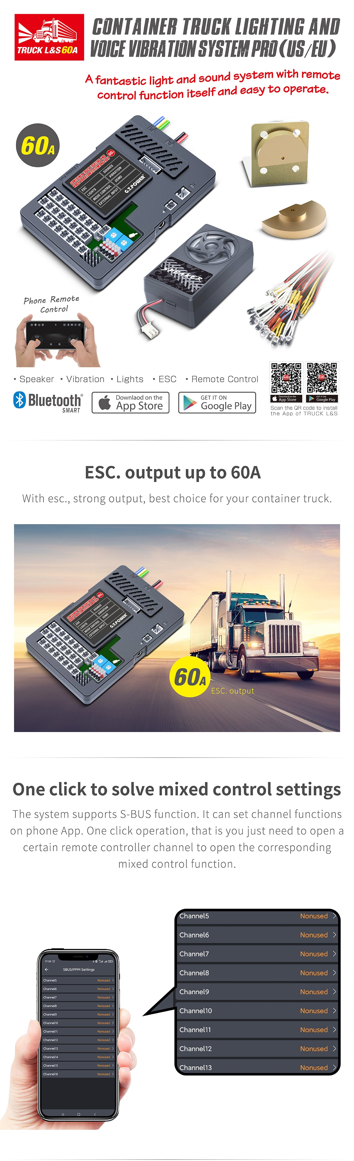 G.T. Power Container Truck Sound/Lighting/Vibration System Pro 60A