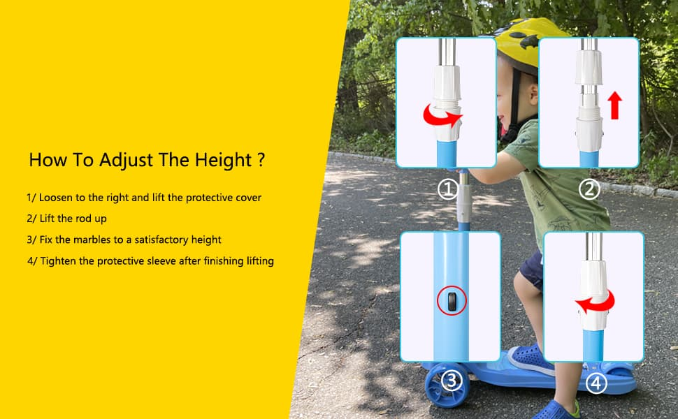 How to adjust the height of the scooters