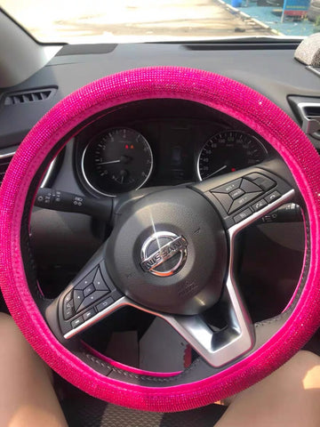 Hot pink bling steerng wheel cover