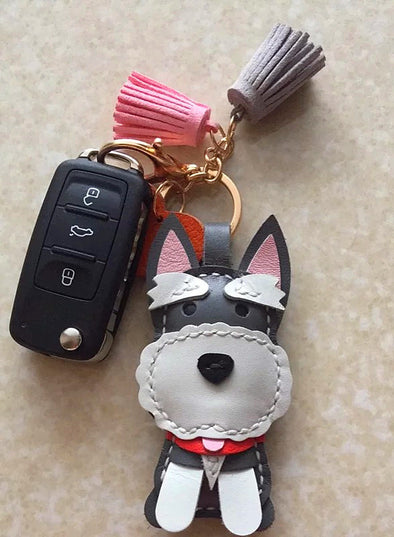 Personalized Schnauzer Keyring Cowhide Dog Key chain leather charm