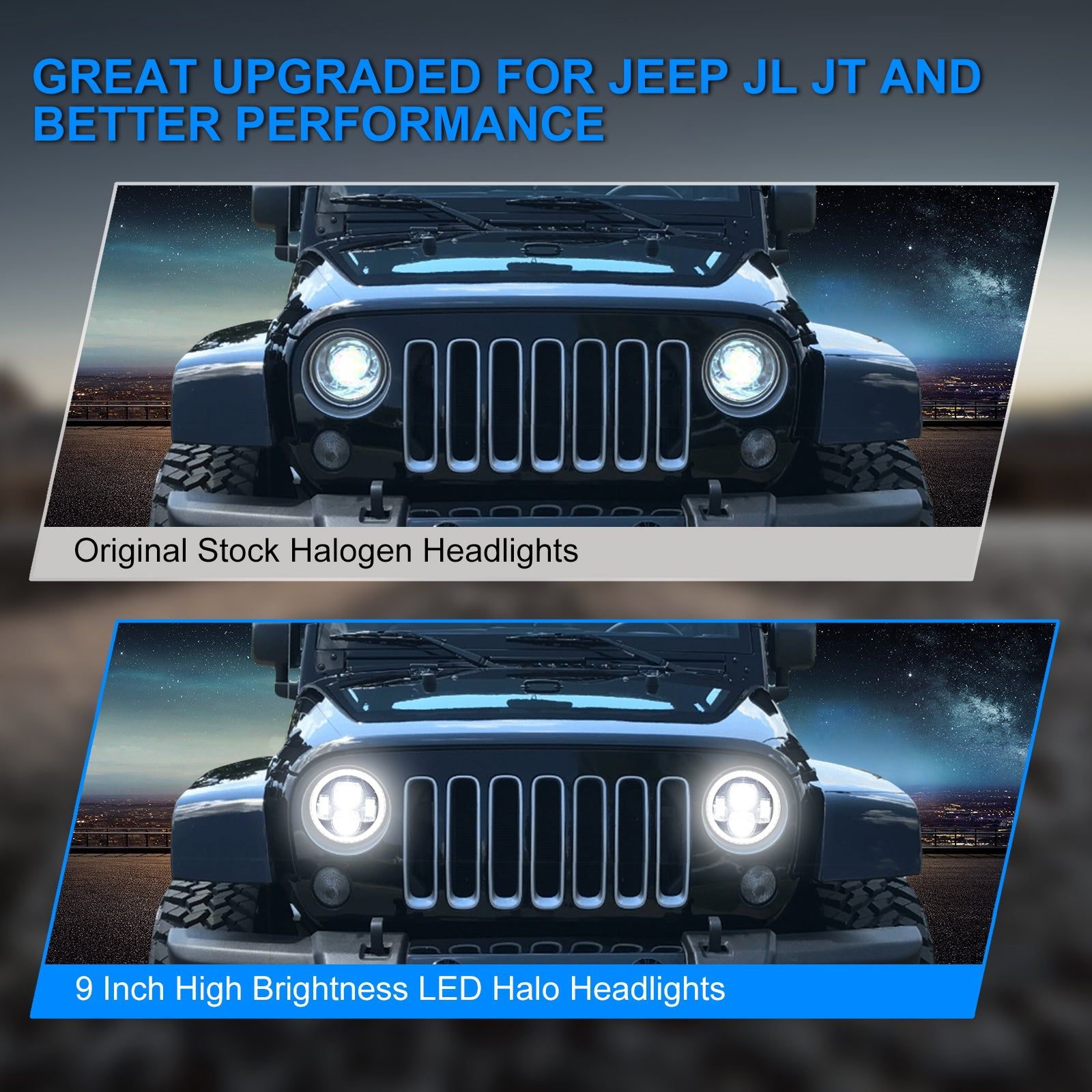 """9"""" Halo LED Headlights with White DRL & Amber Turn Signals For 2018+ Jeep Wrangler JL And Jeep Gladiator JT"""