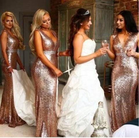 V neck mermaid bridesmaid dresses