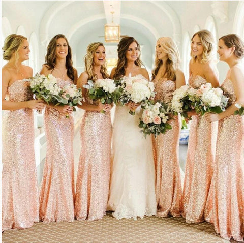rose god sequin bridesmaid dress