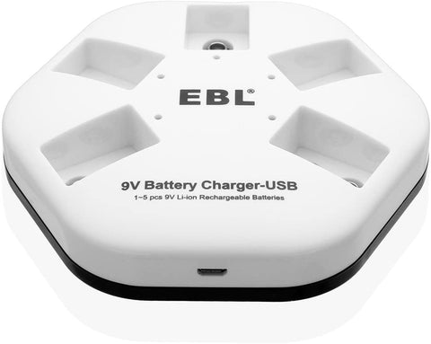 iQuick USB Battery Charger for 9V 6F22 Lithium-ion Rechargeable Batteries
