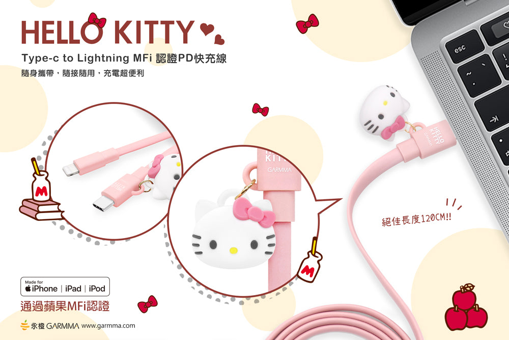 GARMMA Hello Kitty MFI 1.2M Doll Dangler Type-C to Apple Lightning PD Cable
