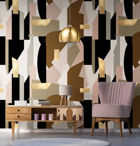 large scale pattern wallpaper makes the room bigger