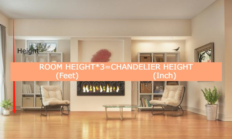 room height and chandelier height