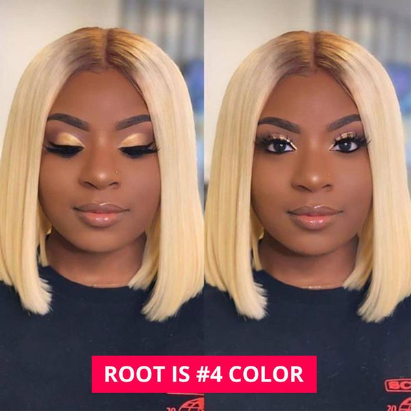 613 Lace Front Bob Wigs With Dark Roots