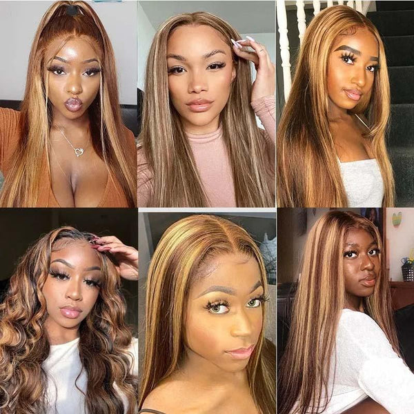 Blonde Highlight Color Straight Hair Lace Part Wigs