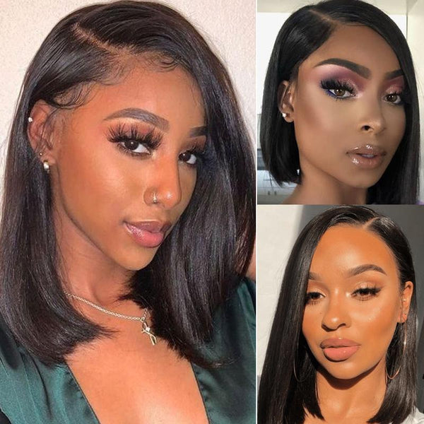 Klaiyi Asymmetrical Bob Wigs Blunt Haircuts Lace Front Wigs with Side Part Perfect For Any Face Shapes