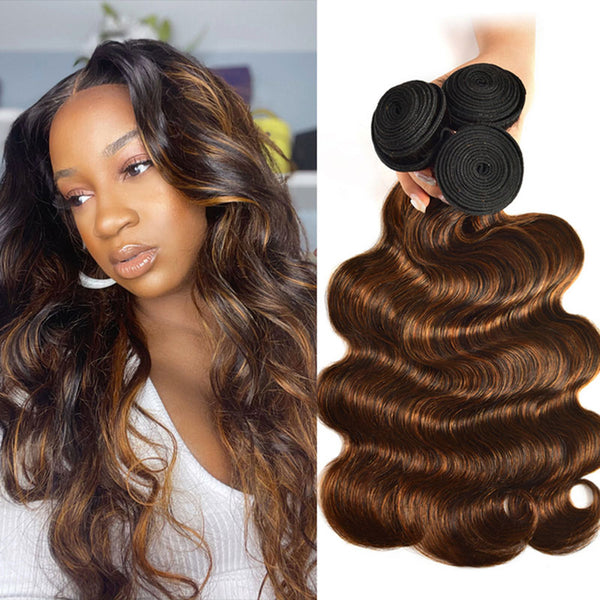 Klaiyi Balayage Hair Color 3 Bundles with Lace Closure Pre Plucked Free Part Highlights Ombre Color Bundles Body Wave (11)