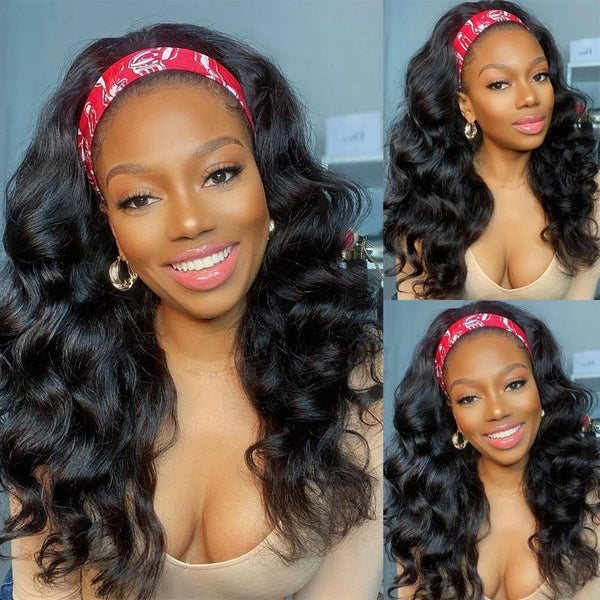 Klaiyi Body Wave Headband Wig Glueless Human Hair Wigs With Pre-attached Scarf Half Wig 150% Density