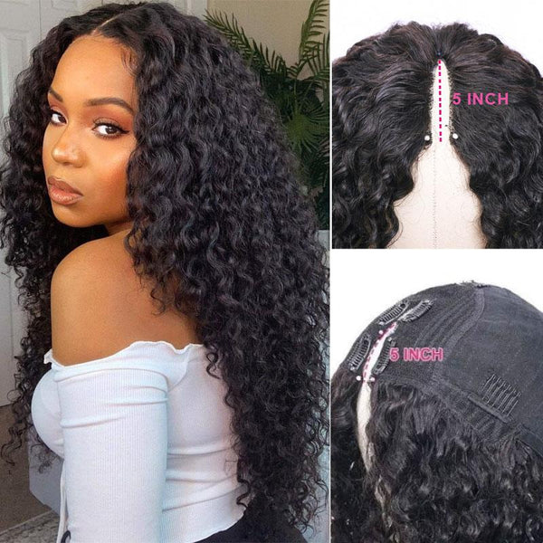 Klaiyi Curly Thin Part Wigs Meet Real Scalp Upgraded U Part Wigs No Leave Out No Glue Beginner Friendly to Thin Hair