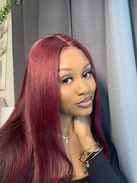 Klaiyi Hair 99J Straight Wig Hand Tied Lace Part Wigs Popular and Best Wig For Black Woman