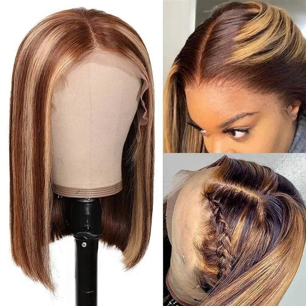 Klaiyi Highlight Straight Bob Lace Part Wig Summer Vibes Ombre Color Human Hair Wigs