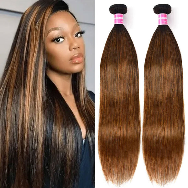 Klaiyi Ombre Balayage Highlights Lace Closure with 3 Bundles Bone Straight Virgin Human Hair Weave with Closure Free Part (5)