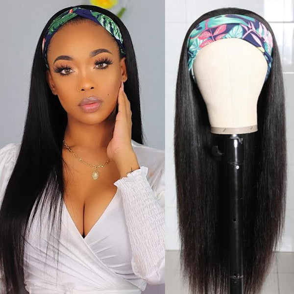 Klaiyi Straight Human Hair Wigs With Headbands Attached