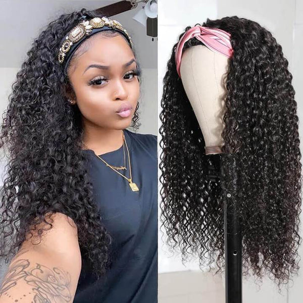 Klaiyi Youth Series Best Long Curly Hair Headband Wigs