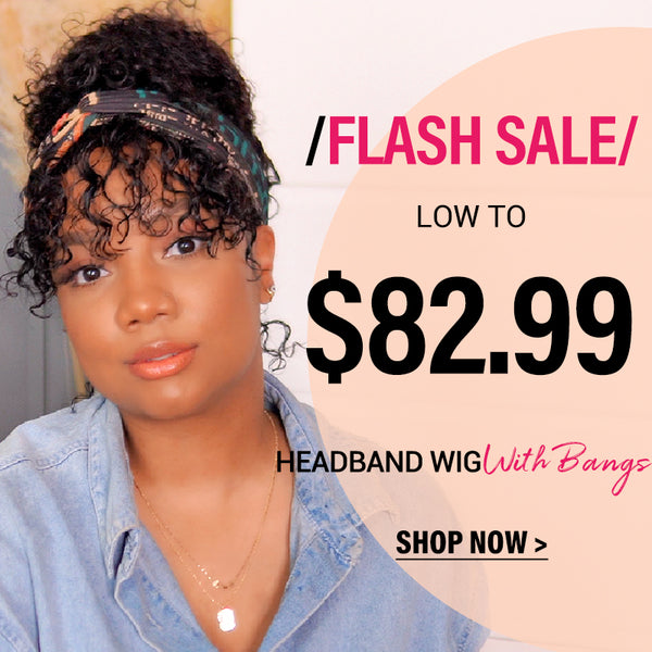 flash sale $82.99 for curly headband wigs with bangs