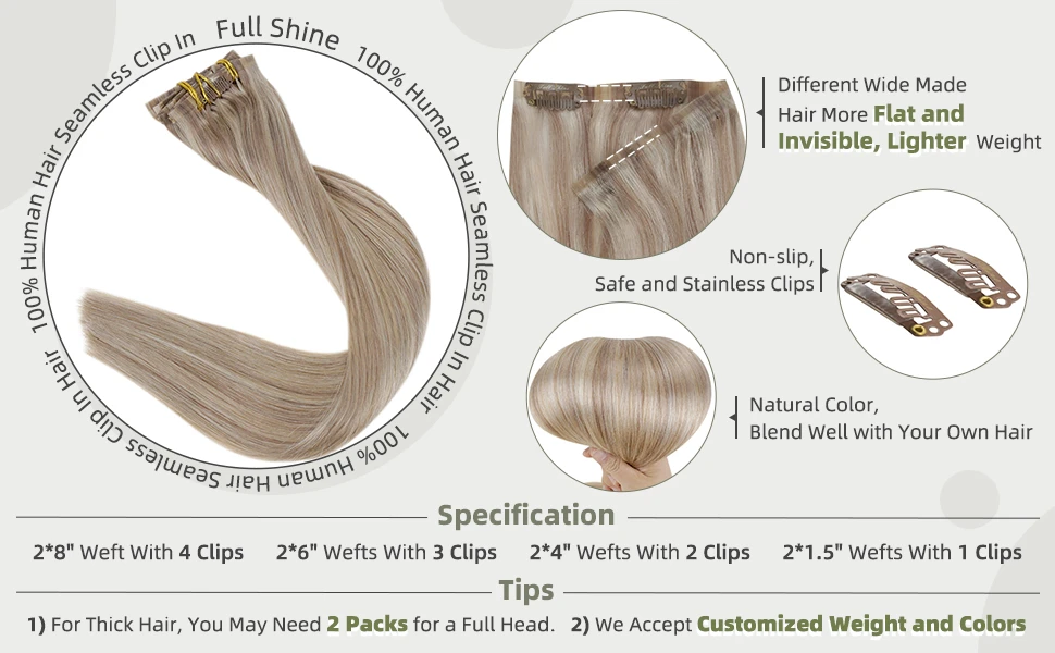 seamless clip in balayage extentions