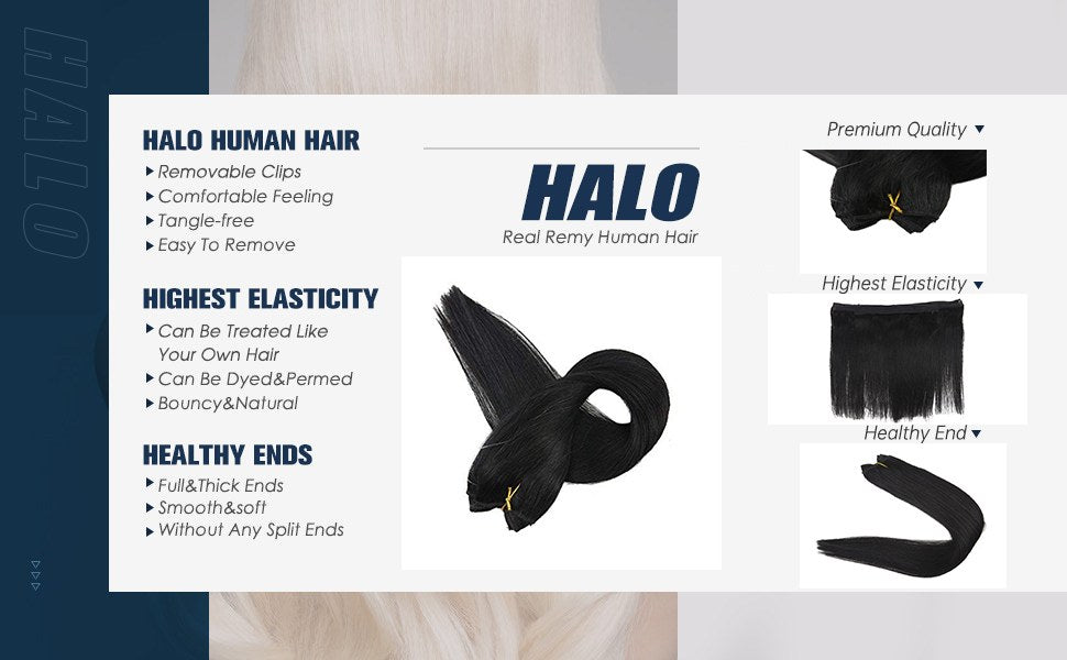 full shine black halo hair extensions