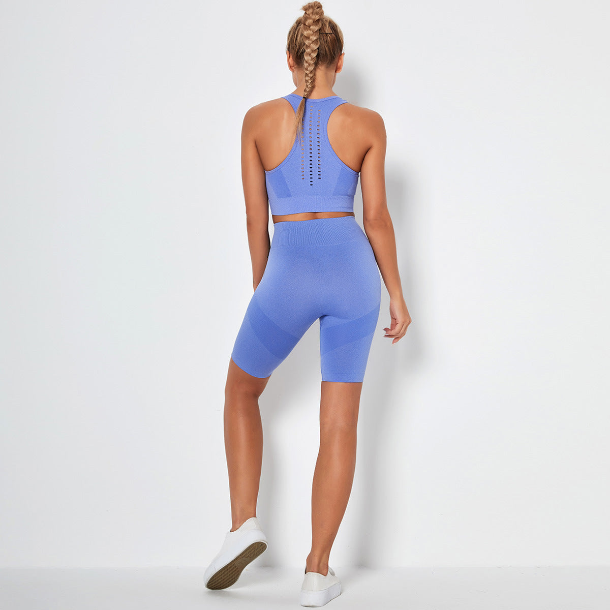 Seamless yoga outfit for women bra short royal blue