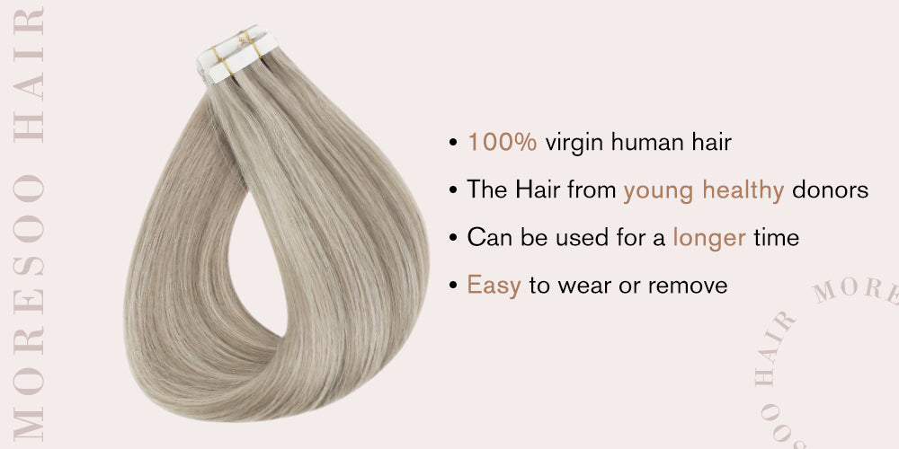 human hair tape in extensions highlight color