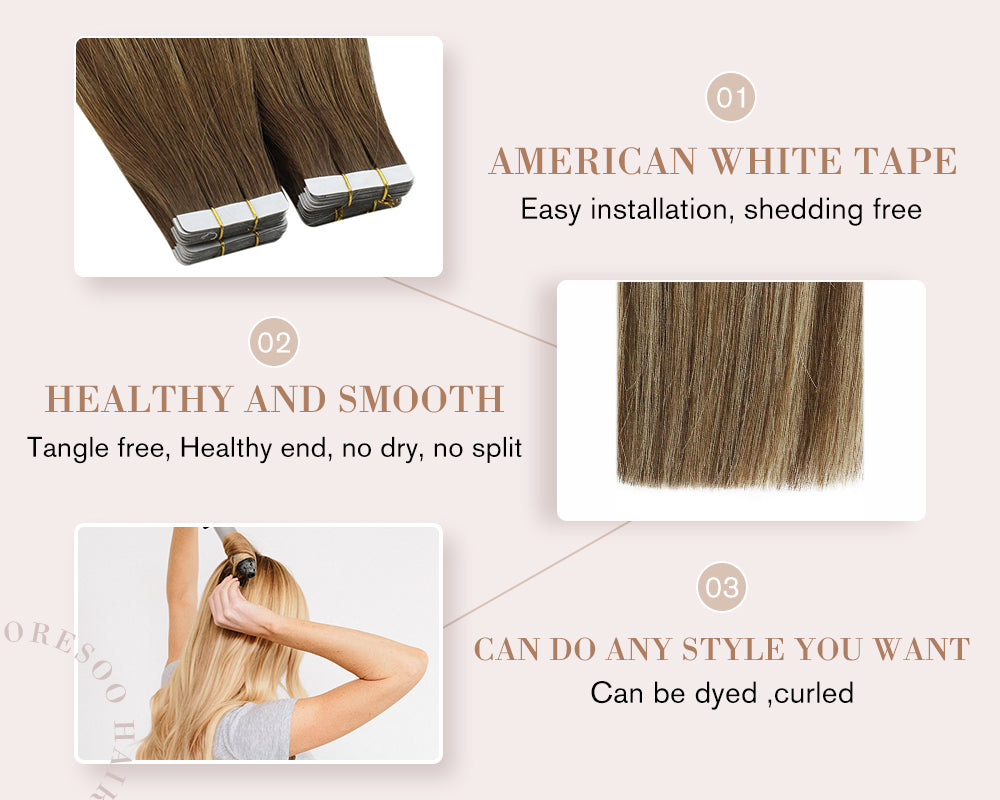hair extensions adhesive skin weft highlight color