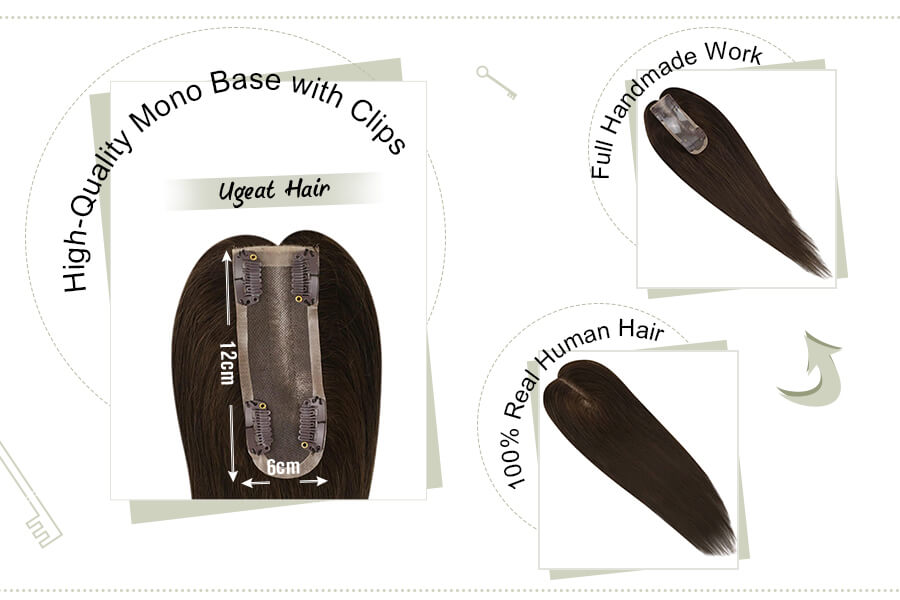 Hair Pieces 12x6cm Mono Base Toppers for Women with Thinning Hair Darkest Brown #2