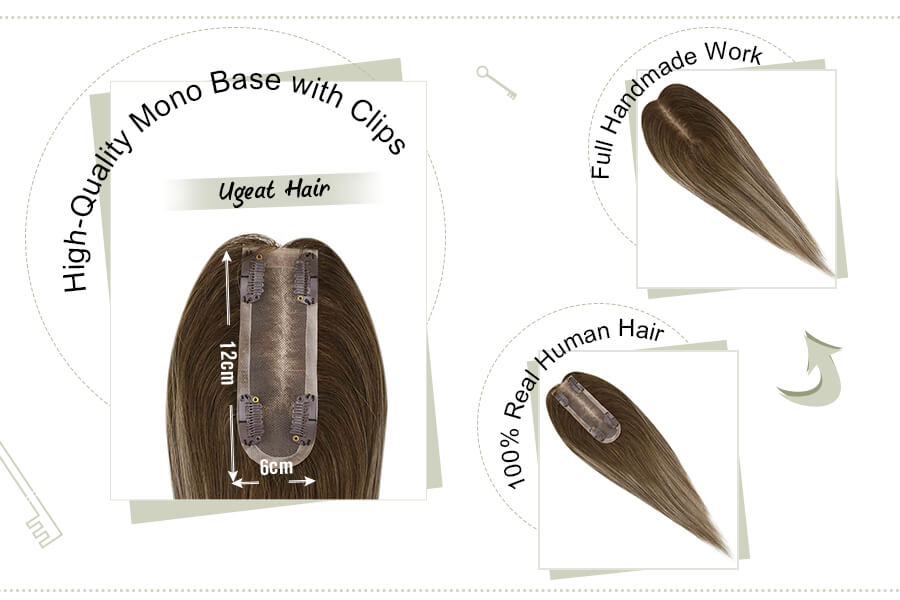 Mono Crown Toppers Hairpieces for Thinning Hair Balayage Color 4/27/4
