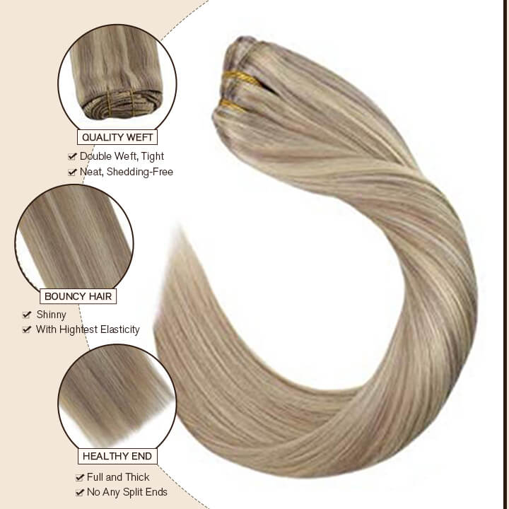 Highlight color clip in hair extension
