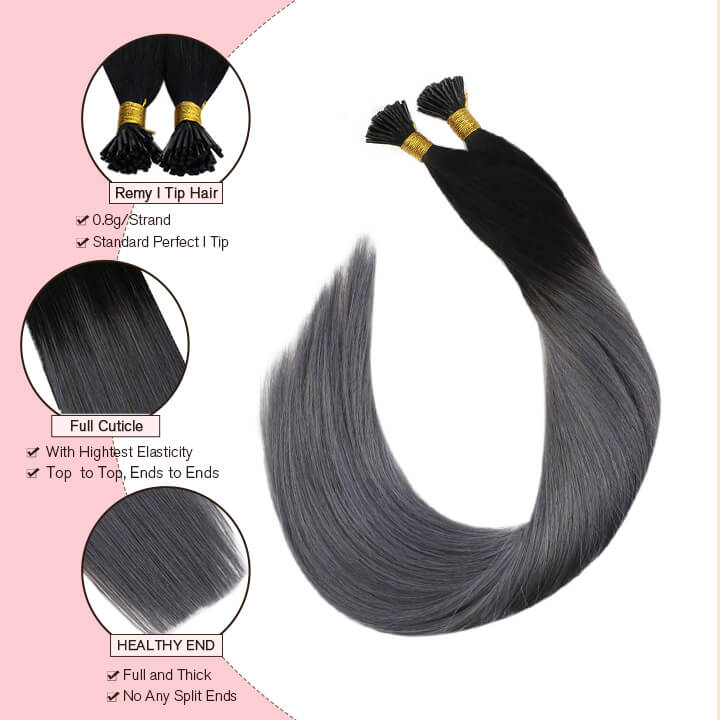 black and silver i tip hair extensions